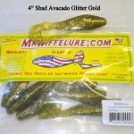 Soft Plastic Shad Style Fishing Baits Avocado Glitter Gold