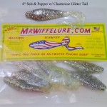 "Soft Plastic Baits Shad Body 4"" Salt & Pepper w/Chartreuse Tail"